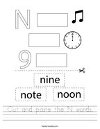 Cut and paste the N words Handwriting Sheet