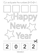 Cut and paste the numbers 2-0-2-1 Coloring Page