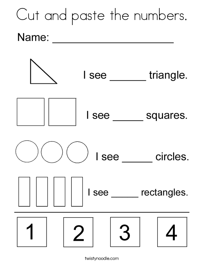 Cut and paste the numbers. Coloring Page