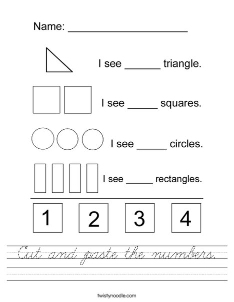 Cut and Paste the Numbers Worksheet
