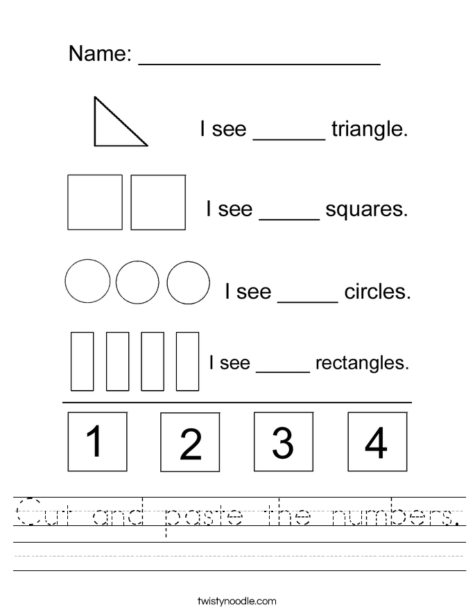 Cut and paste the numbers. Worksheet