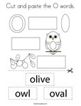 Cut and paste the O words. Coloring Page