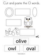 Cut and paste the O words Coloring Page