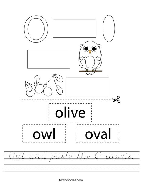Cut and paste the O words. Worksheet