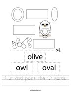Cut and paste the O words Handwriting Sheet