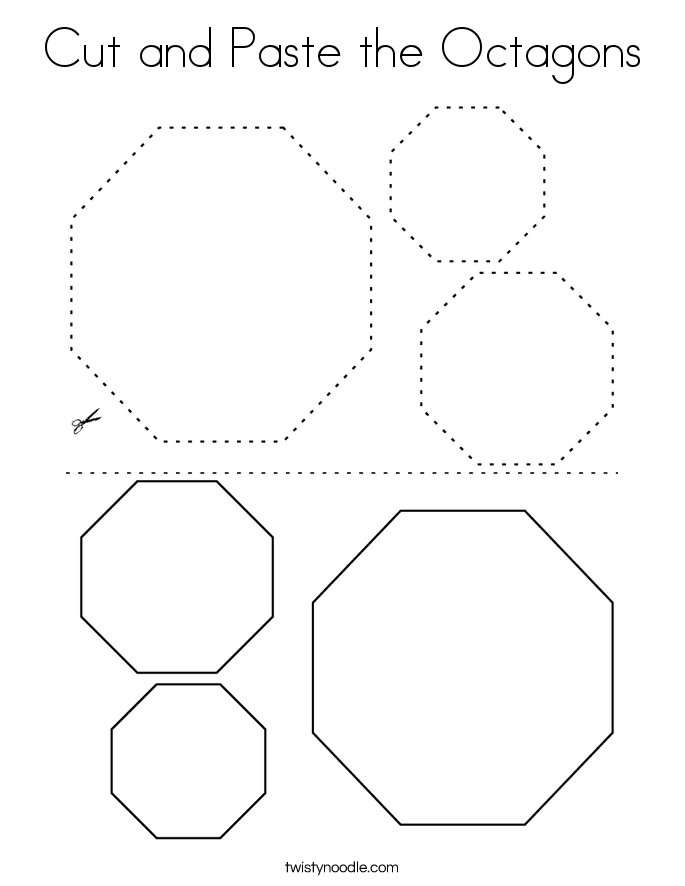 Cut and Paste the Octagons Coloring Page