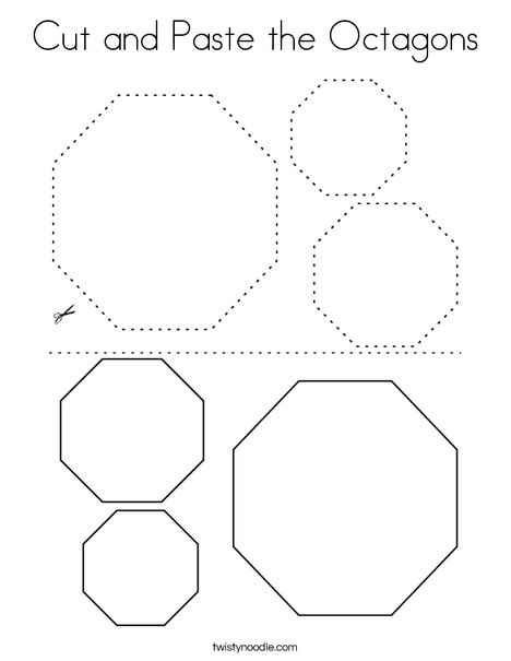 Cut and Paste the Octagons. Coloring Page