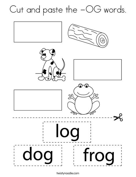 Cut and paste the -OG words. Coloring Page