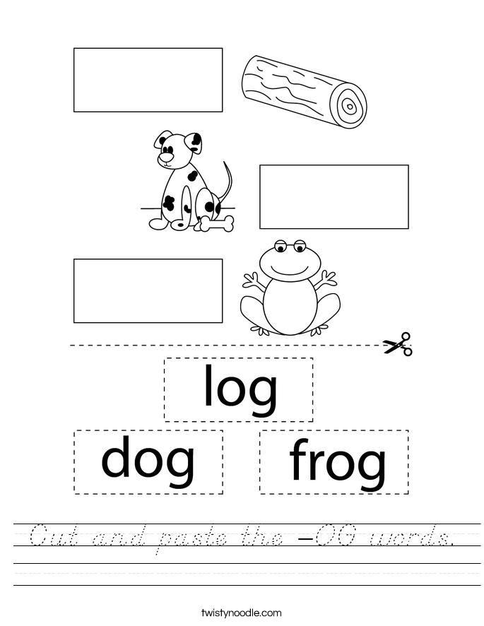 Cut and paste the -OG words. Worksheet