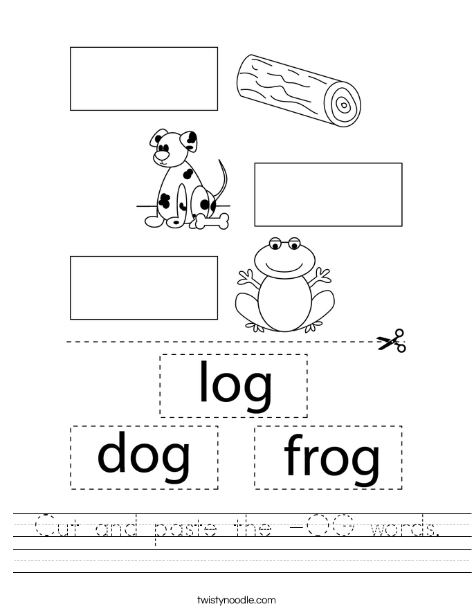 Cut and paste the -OG words. Worksheet