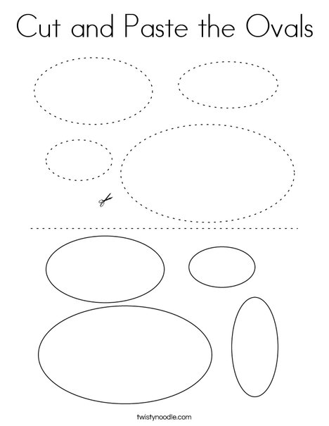 Cut and Paste the Ovals Coloring Page