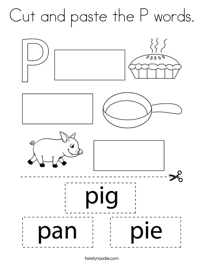 Cut and paste the P words. Coloring Page