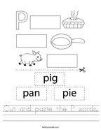 Cut and paste the P words Handwriting Sheet