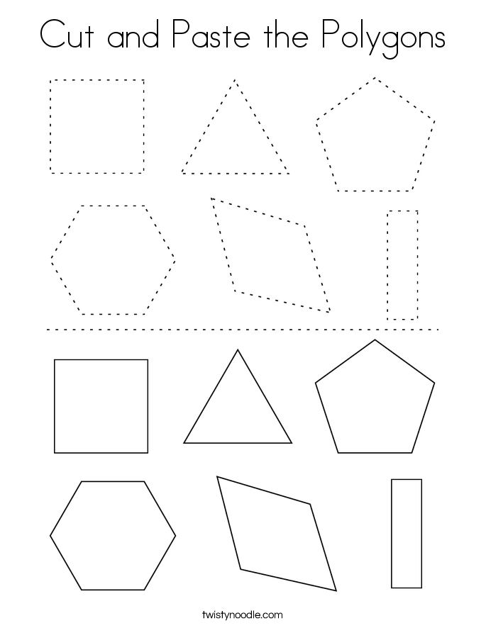 Cut and Paste the Polygons Coloring Page
