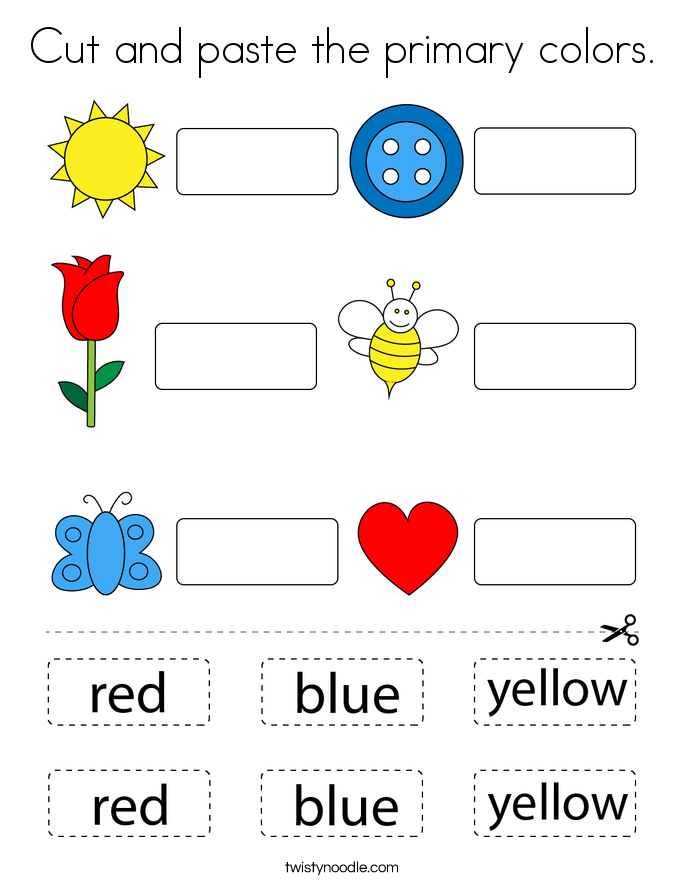 Cut and paste the primary colors. Coloring Page