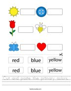 Cut and paste the primary colors Handwriting Sheet