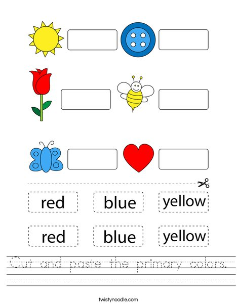 Cut and paste the primary colors. Worksheet