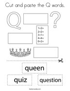 Cut and paste the Q words Coloring Page