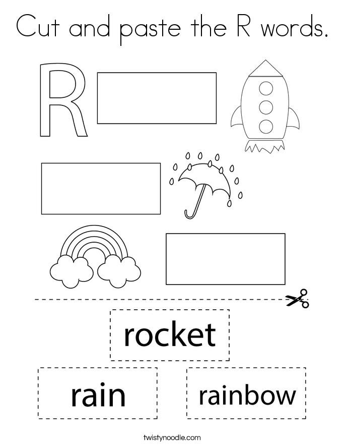 Cut and paste the R words. Coloring Page