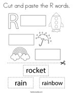 Cut and paste the R words Coloring Page