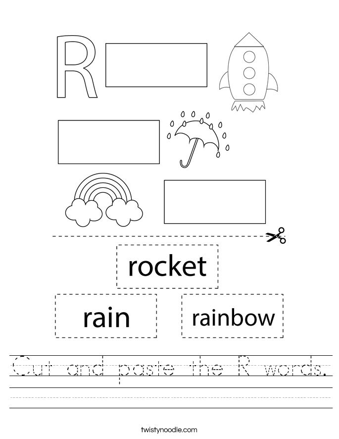 Cut and paste the R words. Worksheet