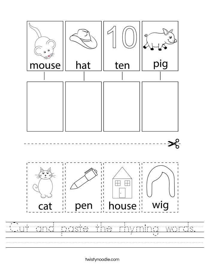 Cut and paste the rhyming words. Worksheet