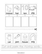 Cut and paste the rhyming words Handwriting Sheet
