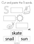 Cut and paste the S words Coloring Page