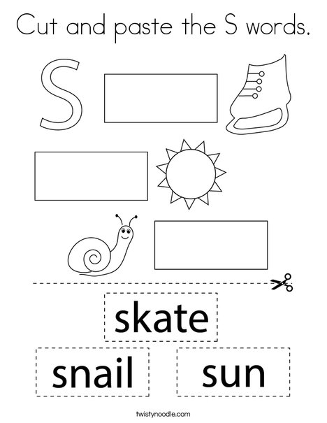 Cut and paste the S words. Coloring Page