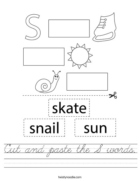 Cut and paste the S words. Worksheet