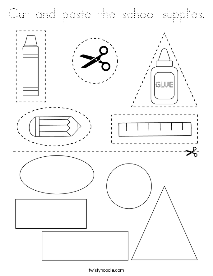 Cut and paste the school supplies. Coloring Page