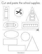 Cut and paste the school supplies Coloring Page