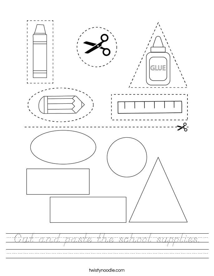 Cut and paste the school supplies. Worksheet