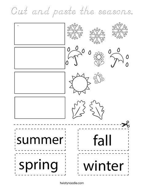 Cut and paste the seasons. Coloring Page
