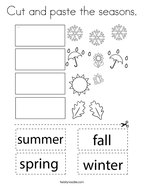 Cut and paste the seasons Coloring Page