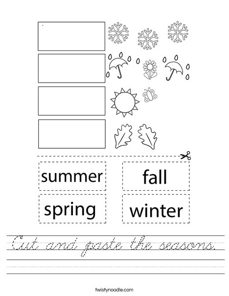 Cut and paste the seasons. Worksheet