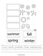 Cut and paste the seasons Handwriting Sheet