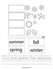 Cut and paste the seasons Handwriting Sheet