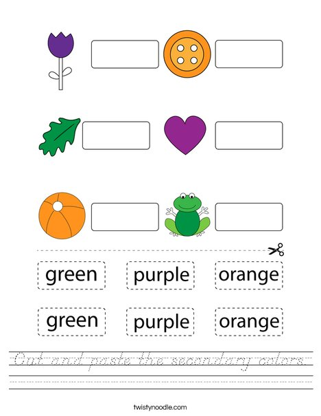 Cut and paste the secondary colors. Worksheet