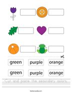 Cut and paste the secondary colors Handwriting Sheet