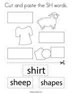 Cut and paste the SH words Coloring Page