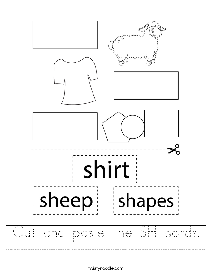 Cut and paste the SH words. Worksheet