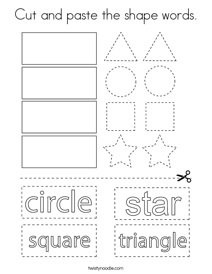 Cut and paste the shape words. Coloring Page