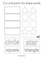 Cut and paste the shape words Coloring Page