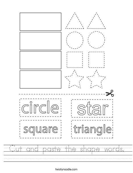 Cut and paste the shape words. Worksheet