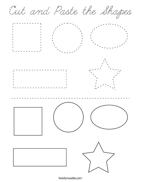 Cut and Paste the Shapes Coloring Page