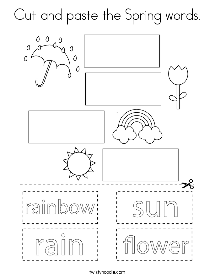 Cut and paste the Spring words. Coloring Page