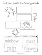 Cut and paste the Spring words Coloring Page
