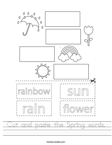 Cut and paste the Spring words. Worksheet