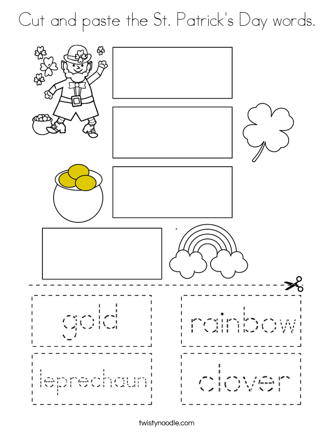 Cut and paste the St. Patrick's Day words. Coloring Page